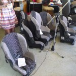 The car seats lined up and ready for the registered attendees of the workshop.